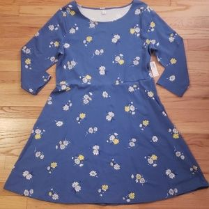 NWT Old Navy Long Sleeve Scoop Neck Stretch Dress